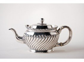 Tiffany & Co. Sterling Silver Wave Edge Teapot