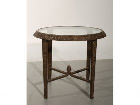 Art Deco 1920s Cast Iron Round Glass Top Table