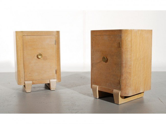 49: Pair of 1930s Art Deco Birdseye Side Table Cabinets