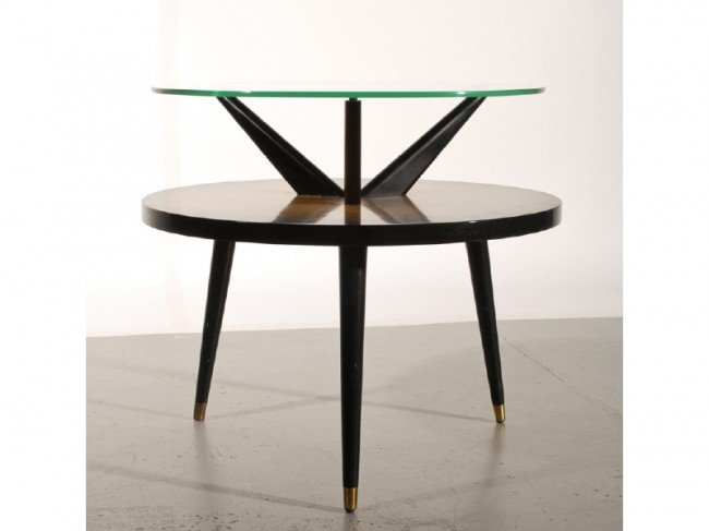 51: Mid Century 1940s  Round Pencil Leg Glass Top Table