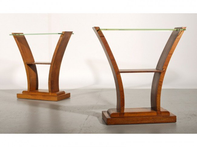 52: Pair of Art Deco 1930s French Glass Top Side Tables