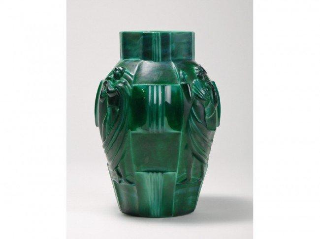 75: Malachite Glass Schlevogt Draped Nude Ingrid Vase - 2
