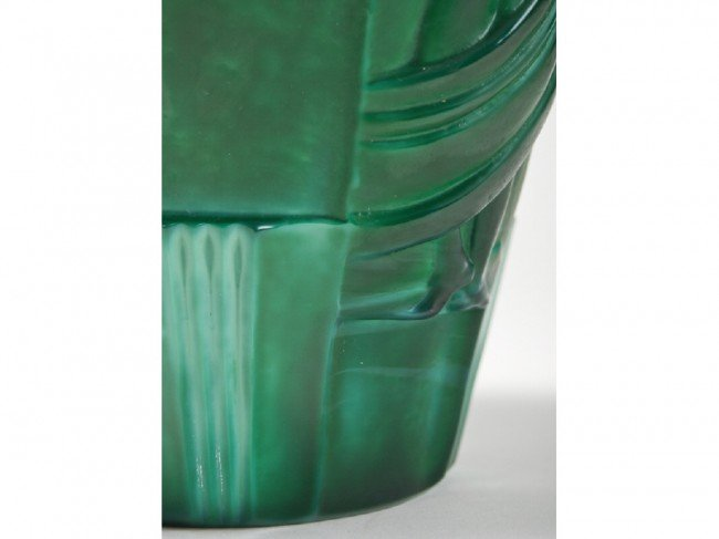 75: Malachite Glass Schlevogt Draped Nude Ingrid Vase - 4