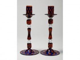 Pair Of Czech Art Deco Mottled Glass Candlesticks