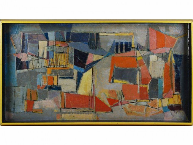 90: Mary Stewart 1949 Modern Abstract Oil /c Painting