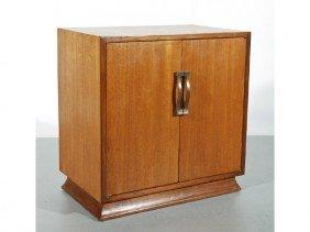 Art Deco Walnut Two Door Cabinet With Oak Interior