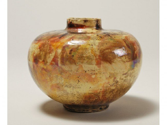 "95: Brouwer Flame Painted 4"" Art Pottery Vase"