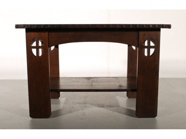97: Mission Oak Arts & Crafts Leather Library Table