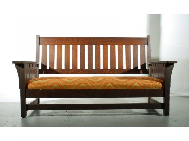 "99: Mission Oak Arts & Crafts Pegged 70"" Settee"