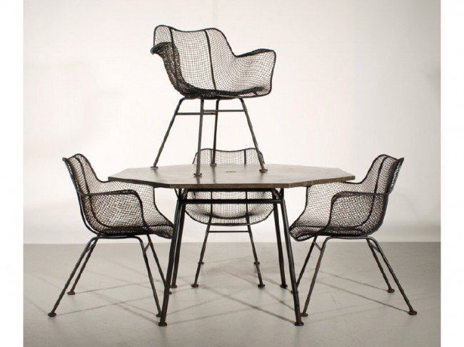 113A: Mid Century Russell Woodard Wire Table & 4 Chairs