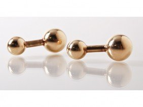 Signed Tiffany & Co. 14K Gold Ball Cufflinks