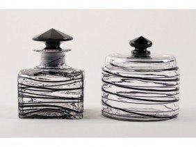 Steuben Threaded Art Glass Jar & Perfume Bottle 2