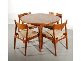 Four Jorgensen Chairs & Round Teak Dining Table