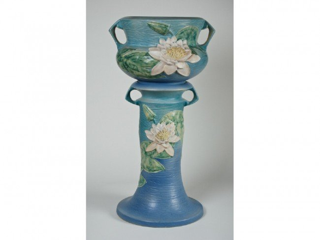 155: Roseville Water Lily Pottery Jardiniere Pedestal