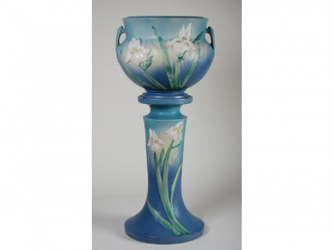 157: Iris Roseville Pottery Jardiniere & Pedestal