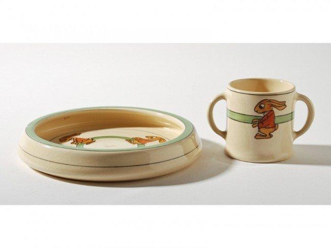 158: Juvenile Roseville Art Pottery Rabbit Cup & Bowl