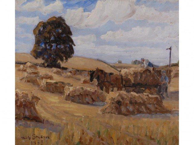 """160: Nils Strom (1903-1971) Swedish """"Haying"""" Painting"""