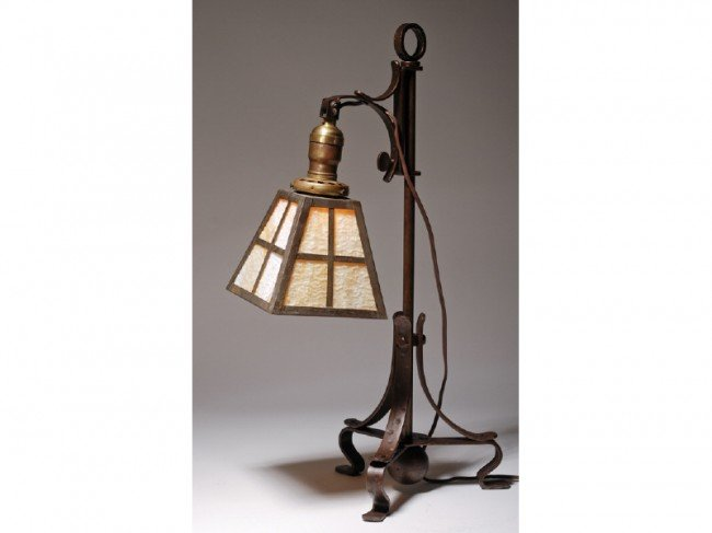 162: Arts & Crafts Iron Lamp with Slag Glass Shade