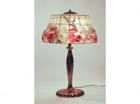 Pairpoint Puffy Hummingbird Glass Shade Lamp