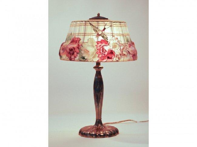 163: Pairpoint Puffy Hummingbird Glass Shade Lamp