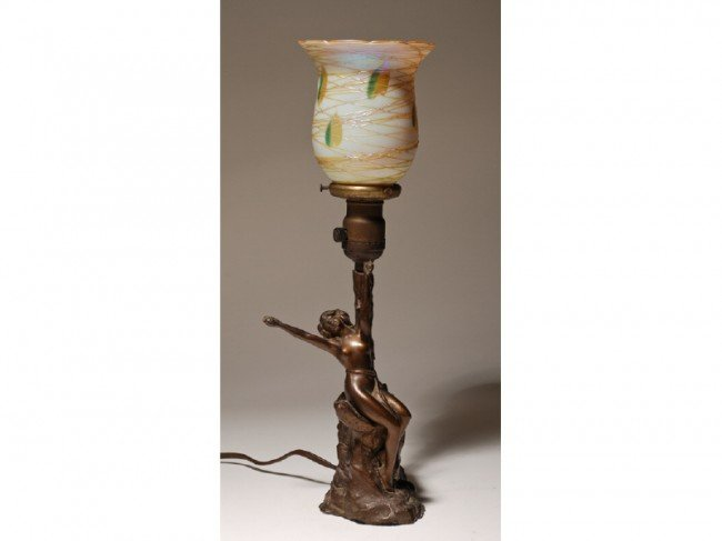 164: Art Deco Figural Nude Lamp with Art Glass Shade