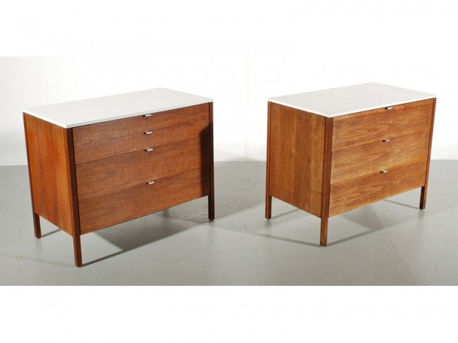 165: Two Florence Knoll Mid Century  Walnut Chests
