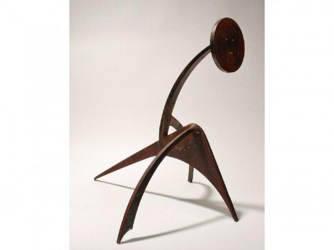 173: Abstract 20th C. Brutalist Steel Floor Sculpture