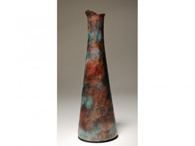 "176: Paolo De Poli - Gio Ponti Enamel Copper 14"" Vase"