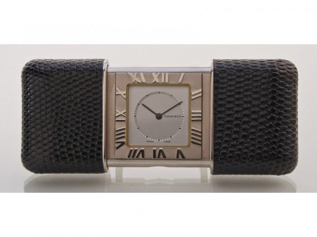 181: Tiffany Stainless Travel Alarm Clock w Box &Papers
