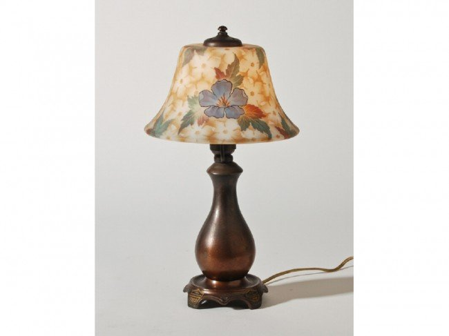 184: Classique Boudoir Lamp with Floral Glass Shade