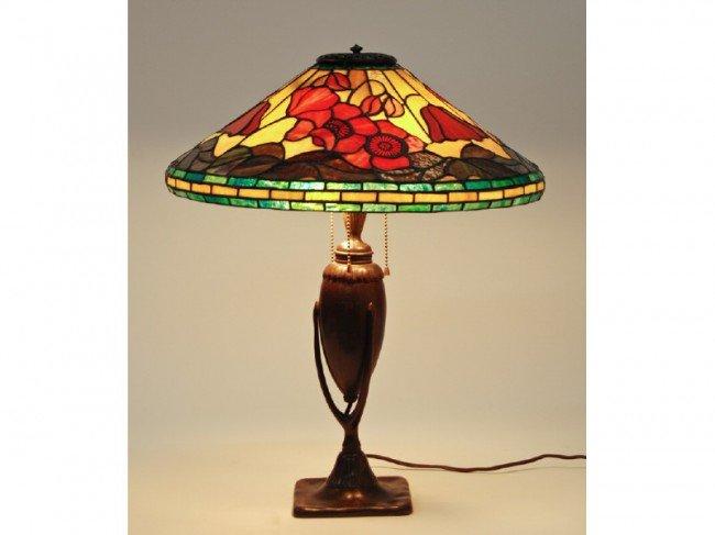 185: Tiffany Studios New York #444 Bronze Lamp w Shade