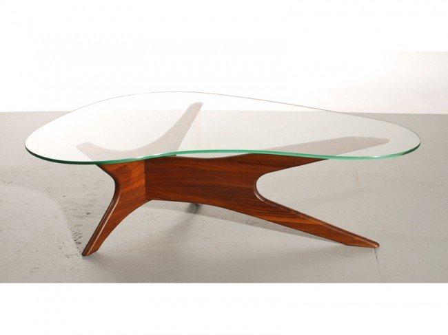 189A: Adrian Pearsall Amorphic Walnut Glass Coffee Tabl