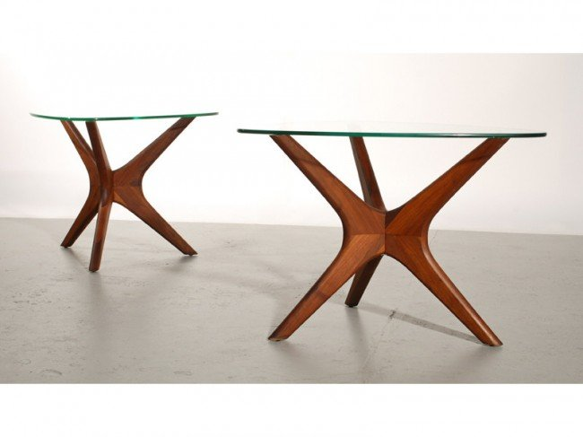 189B: Pair of Adrian Pearsall Walnut &Glass Side Tables