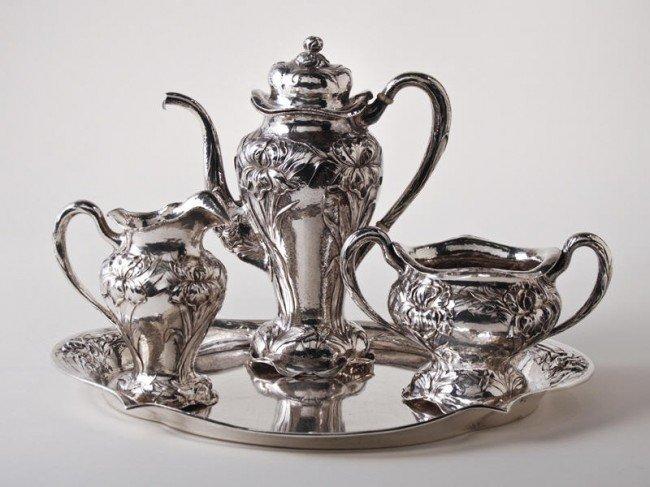 190: Lebkuecher Mauser Sterling Art Nouveau Coffee Set