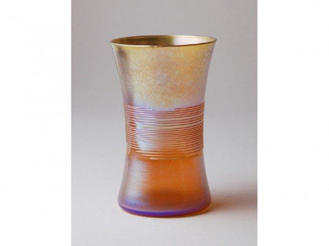 192: Signed L.C.T. Tiffany Gold Threaded Art Glass Vase