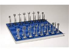 197: Austin Aluminum Mid Century Modern Chess Set