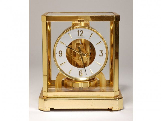 198: Atmos Jaeger LeCoultre Brass Clock with Round Dial