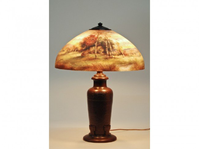"268: Handel Reverse Painted Glass Scenic 18""  Lamp"