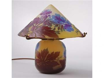 312: French Emile Galle 1920s Cameo Art Glass Lamp