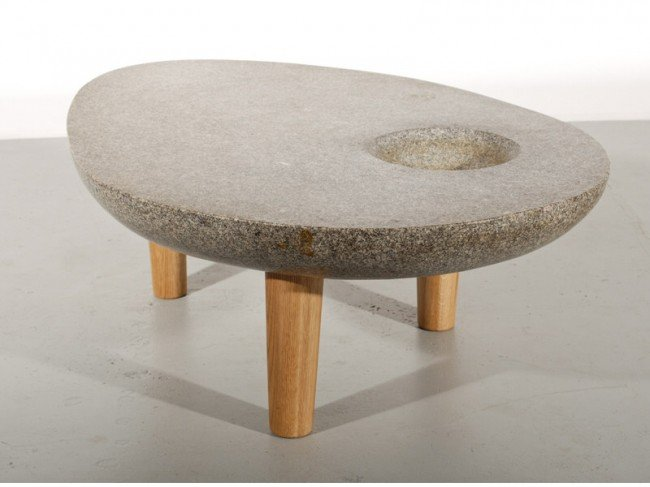 336: Noguchi style Amorphic Stone 3-Leg Modern Table