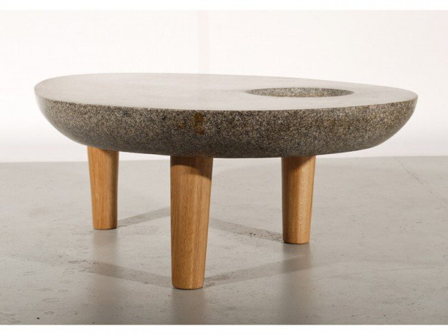 336: Noguchi style Amorphic Stone 3-Leg Modern Table - 3