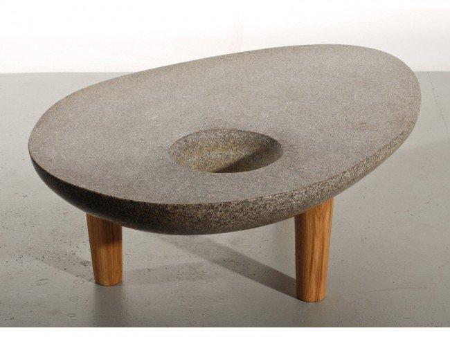 336: Noguchi style Amorphic Stone 3-Leg Modern Table - 4