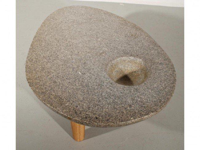 336: Noguchi style Amorphic Stone 3-Leg Modern Table - 5