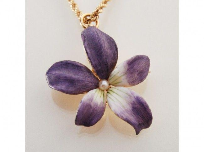 Art Nouveau 14K Gold Enamel Floral Necklace Brooch