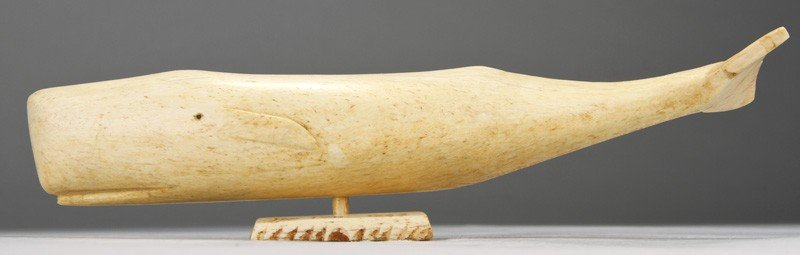 3: Signed Carved 1888 Whale Bone Sperm Whale Sculpture