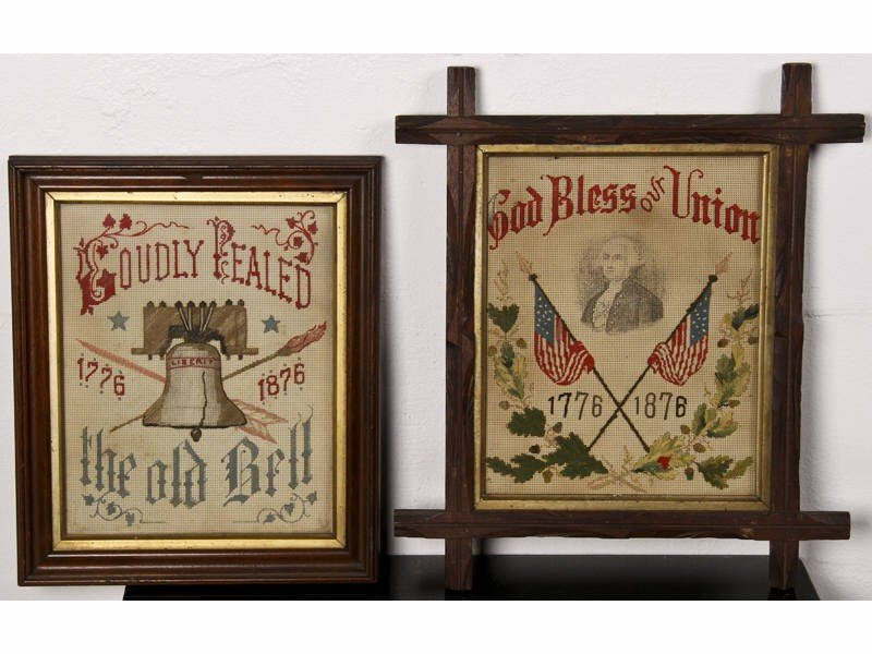 5: Two 1876 Centennial 19C Antique Samplers in Frames