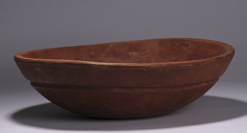 "6: Red Stained 19C Maple Round 16"" Antique Dough Bowl"