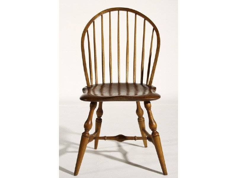 9: Windsor Bow Back 19th C. Nine Spindle Side Chair