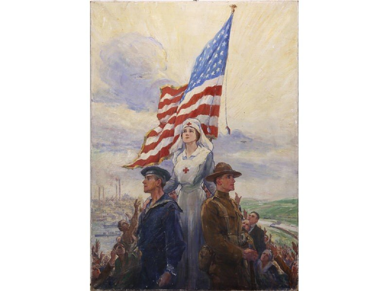 10: Frederick C. Yohn WW I Oil Painting for War Poster