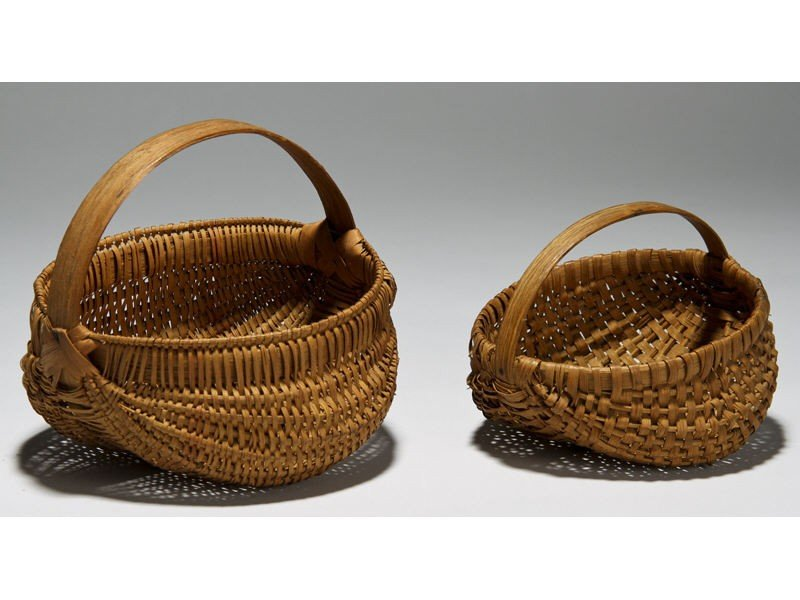 11: Two Small 19C Splint Melon Ribbed Buttocks Baskets